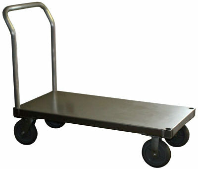 "Aluminum Platform Truck 24"" x 48"" Smooth Plate with Gray Soft Rubber Wheels"