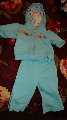 a01d06341 Carter's Baby Girls Two Piece Blue Sweat Outfit Hoodie & Pants Size 3  Months 3M
