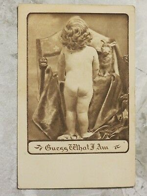 Vintage 1907-15 Postcard: Toddler w/ Bare Butt--Guess What I Am (Boy or Girl?)