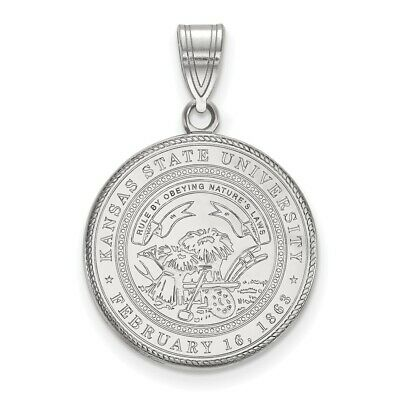 925 Sterling Silver Rhodium-plated Laser-cut Weber State University Large Disc Pendant