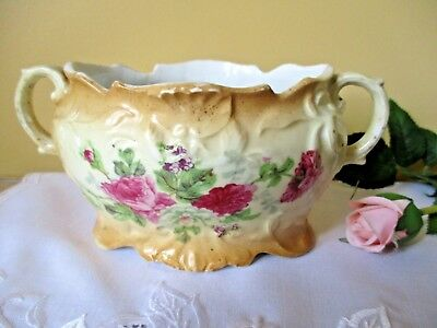 Small Antique Victorian Two Handle Floral Flower Mustard China Bowl