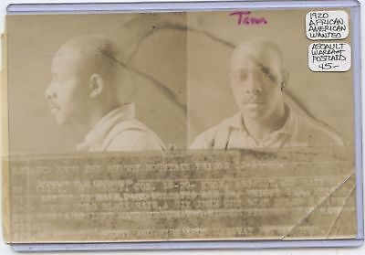 Wanted Photo Post Card 1920 African American Assault Warrant Hershey Mt Prison