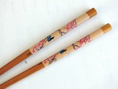 JAPANESE WOMEN BLUE BIRD PINK FLOWER CHOPSTICKS HAIR STICK PIN CHINESE PARTY a2