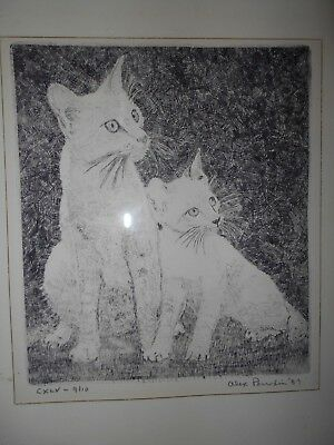 VINTAGE 1987 SIGNED AND NUMBERED 9/10 CAT ETCHING/ENGRAVING FRAMED ART print