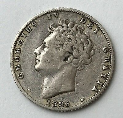 Dated : 1826 - Silver Coin - Sixpence - 6d - King George IV - Great Britain