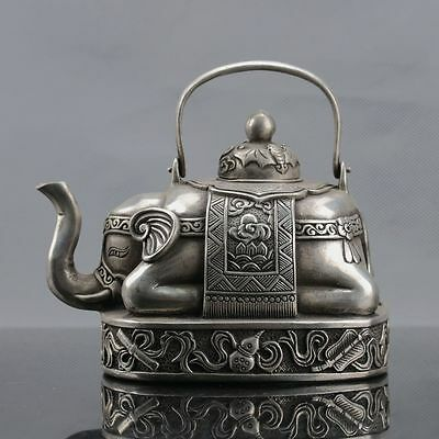 Chinese Silver Copper Handwork Elephant Teapot W Xuande Mark
