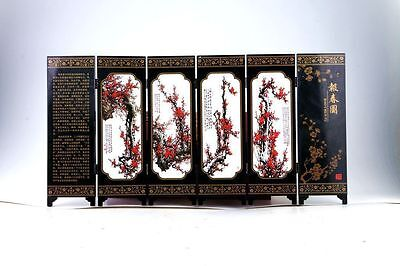 """Good Chinese Lacquer Handwork Painting """"报春图"""" Screen Scroll"""