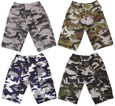 Boys Shorts 2018 Microfibre Army Camouflage Pixel Cargo Pocket 3 to 12 Years