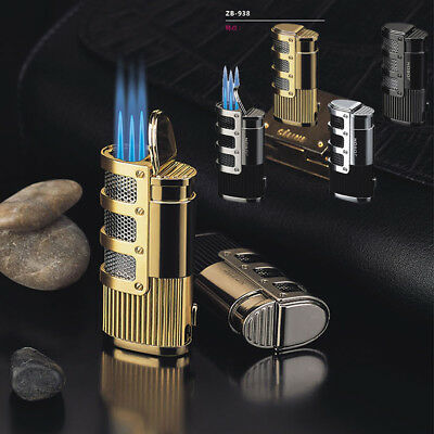 New Classical Windproof Metal 3Torch Fire Flames Cigar Cigarette Smoking Lighter