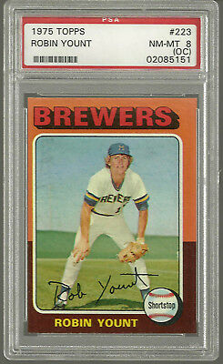 1975 Topps #223  Robin Yount Milwaukee Brewers HOF RC Rookie Card PSA 8 NM-MT OC