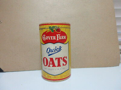 vtg 1Lb 4oz 1950'S  CLOVER  fARM  Quick Cooking Oats  Cardboard Advertising Box
