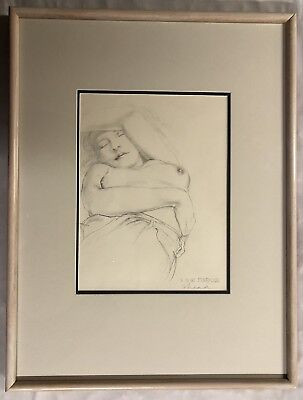 "Original Pencil Drawing by Gary Shead (1942-) ""Sleeping Nude"" Signed"