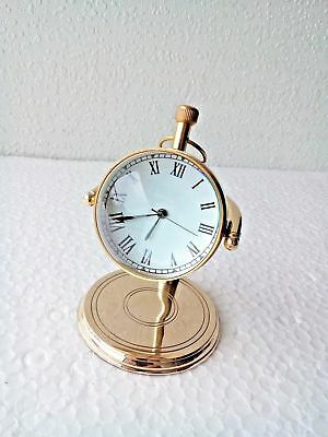 Collectibles Brass Desktop Clock Nautical Home Office Decor Desk Top Replica