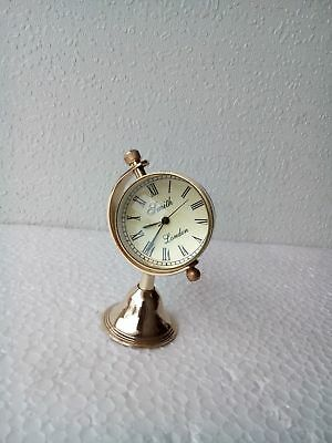 Brass Desktop Clock Nautical Antique Home Office Decor Desk Top Replica Gift