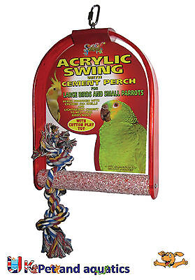 Bird Swing Large, Acrylic With Cement Perch, Large Birds & Small Parrots