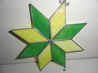 "STAINED GLASS SUN CATCHER-GREEN & YELLOW STAR-7""x7"""