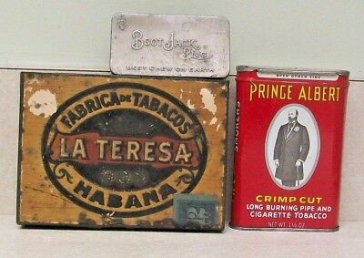 Group Of Antique Tin Metal Tobacco Boxes: Bootjack/prince Albert/la Teresa