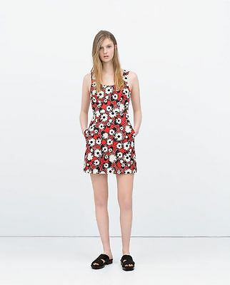 b295e837 New Zara Discontinued Cute Size S Floral A-Line Cross Back Cotton Printed  Dress