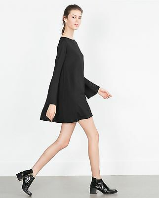 a0c95454 New Zara Discontinued Cute Gorgeous Black Flared Dress with Long Bell  sleeves