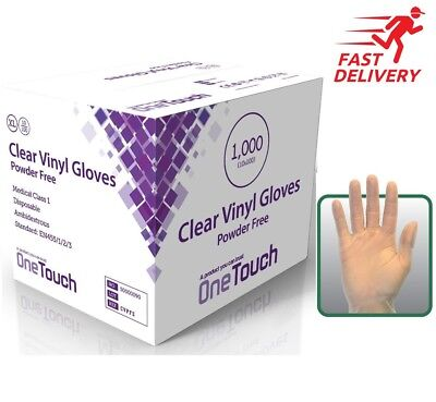 VINYL GLOVES POWDER FREE, NON LATEX AND CLEAR, 1 Case -10 boxes of 100 gloves