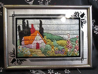Sm Antique Arts & Crafts Cottage Picture Framed Embroidery Silk Yarn Needlework