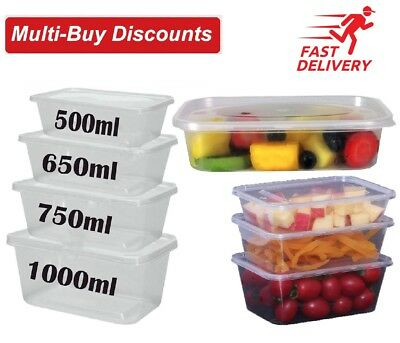 Strong Food Containers Plastic Takeaway Microwave Freezer Safe Storage Boxes