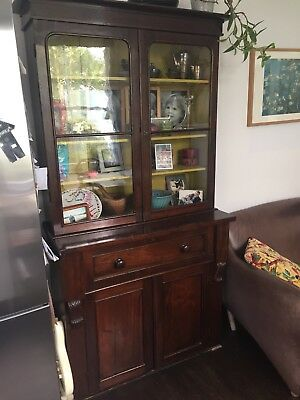 VINTAGE ANTIQUE bureau and Dresser and CUPBOARD GLASS DOORS. DRAWS CABINETS.