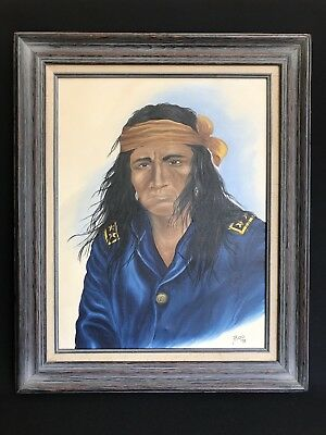 Oil On Canvas Native American Indian Apache Warrior Painting Framed Signed Boo