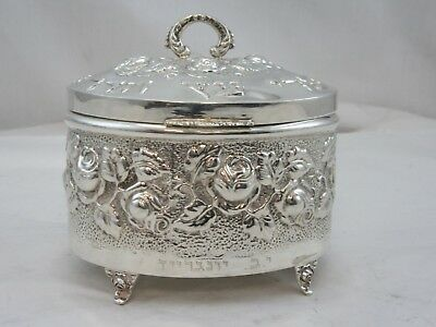 USED PREOWNED STERLING SILVER 925 ESROG ETROG Round  BOX ON LEGS FLOWER DESIGN