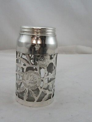 Used Glass Jar in sterling silver 925 decorative holder