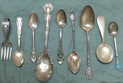 Sterling silver spoons - lot of 9 133g