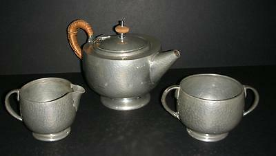 Old Tudric Planished Pewter Tea Set - Arts And Crafts Style - Possibly Liberty