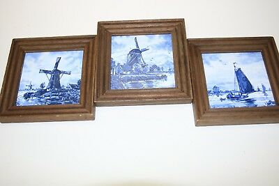 3 Vintage Delft Blue Ceramic Tile  Windmills & Boat Square Framed Look!!!