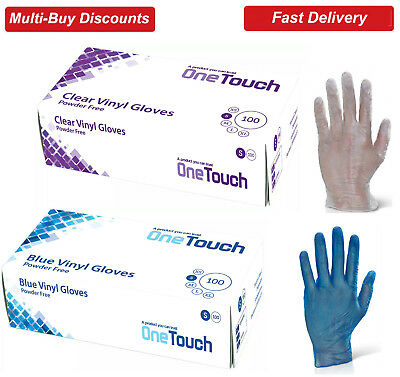 Vinyl Gloves Powder Free NON LATEX Clear & Blue Examination Gloves - Box of 100