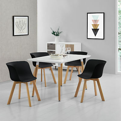 EN.CASA]TABLE À MANGER + 4 chaises blanc/noir 120x70 table de ...