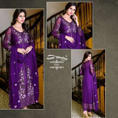 Super Semi Stitched Heavy Embroidery Georgette Salwar Suit With Nazneen Dupatta
