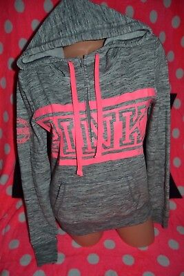 Victorias Secret Pink Gray Funnel Neck Silver Bling S Zip Up Hoodie