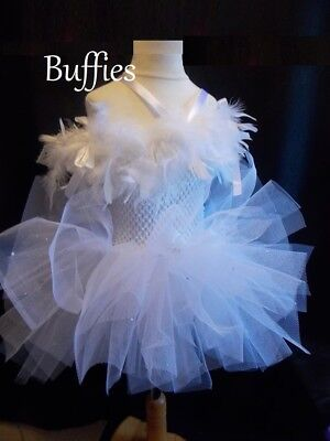 Girls Feather White Tutu Tulle Dress Handmade Fancy dress Fairy Angel frozen