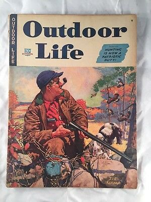 Outdoor Life Magazine Back Issue Old Vintage Hunting Fishing Dated October 1942