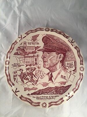 GENERAL DOUGLAS MacARTHUR 1940s Maroon FIRST EDITION Plate Made by Vernon Kilns