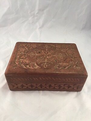 Old Antique Vintage Wood Hand Carved Flower Hinged Jewelry Box 7 inches long