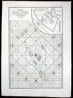 1775 Nicobar islands Indian Ocean Gulf of Bengal sea map Karte Mannevillette