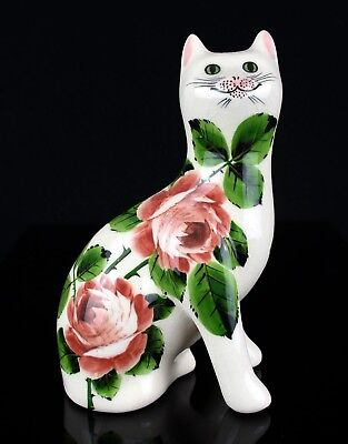 -Griselda Hill Pottery, Wemyss- Seated Cabbage Rose Galle Cat Figure, Signed