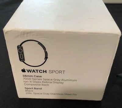 Apple Watch Sport Brand 38mm Black 316L Space Gray Stainless Steel Box Only