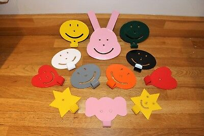Childrens coat hooks - Ideal for bedrooms, nursery, playroom - multi colours ava