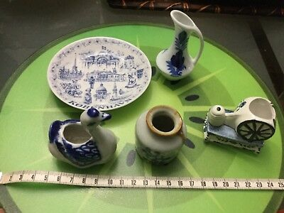 Lot of 5 blue and white vintage ceramic and porcelain from my collection