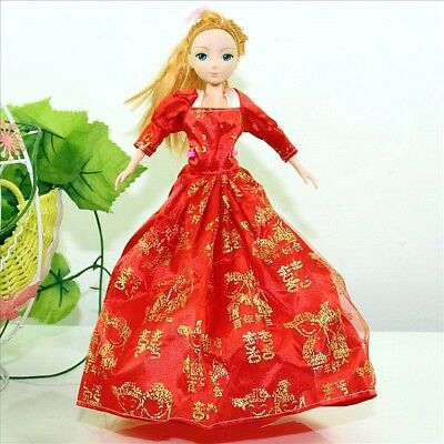 Handmade Party Dress Fashion Clothes For Barbie Doll Outfit Gown Wedding Red