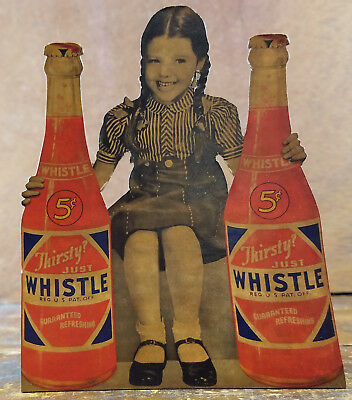 Thirsty Just Whistle Girl Sits Between Soda Bottles Cardboard Adv Counter Sign