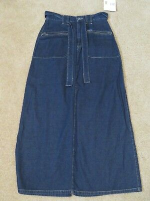 d6aa2a4ad3 New Women s Liz Claiborne Lizwear Long Blue Jean Skirt w Belt Full Length  Size 4
