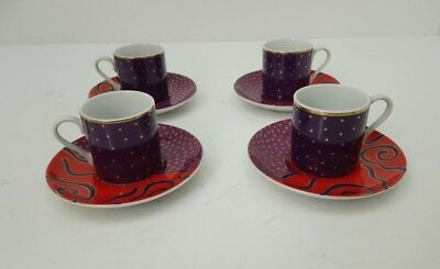HABITAT JAPAN ETOILE VINTAGE ESPRESSO CUPS AND SAUCERS SET X 4 VINTAGE 1970's